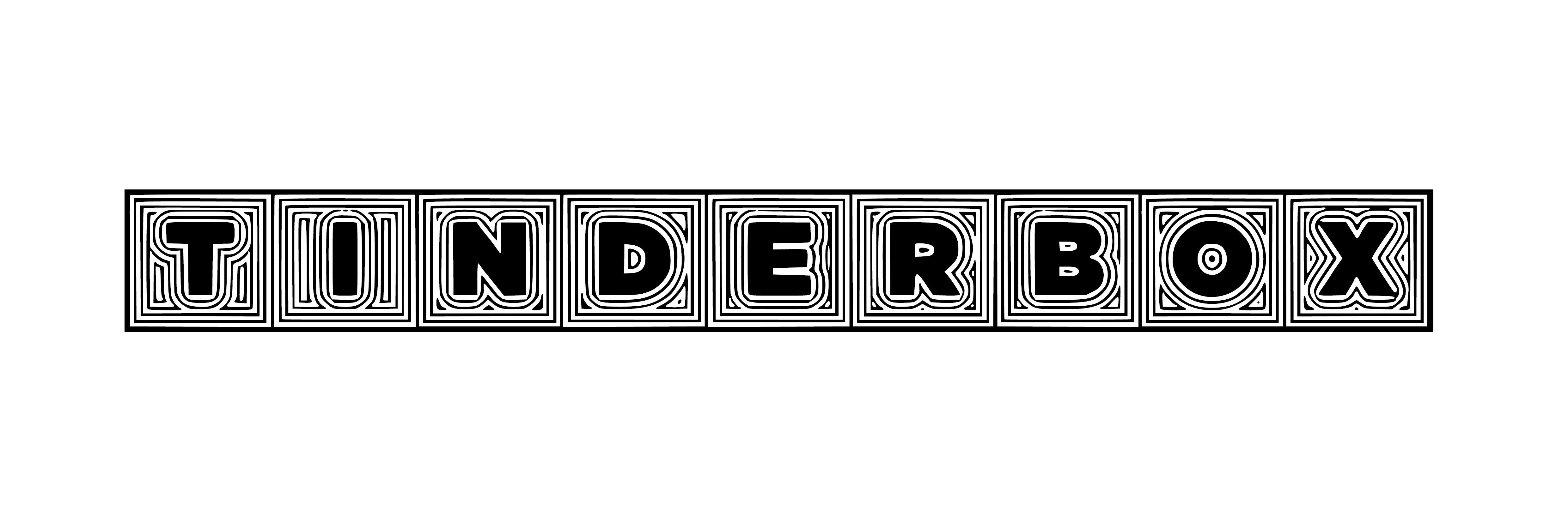 TINDERBOX BANNER BLACK ON WHITE